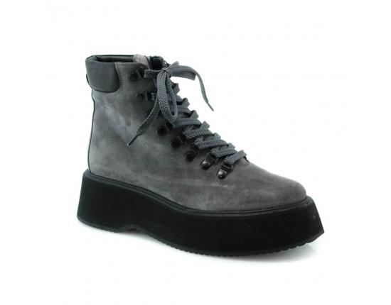 серые  женские зимние ботинки